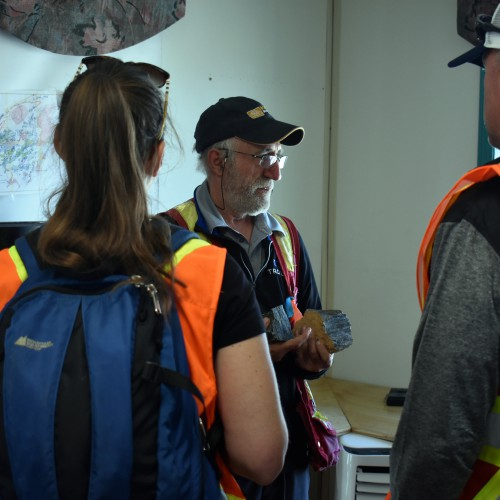 Troilus' Senior Project Geologist, Bertrand Brassard, with visitors
