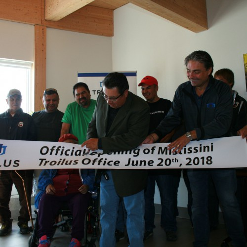 Deputy Chief, Gerald Longchap Cutting the Banner at the Troilus Office Opening in Mistissini - 2018