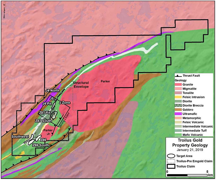 Troilus Property Geology, Claim Contour and Mineral Zones